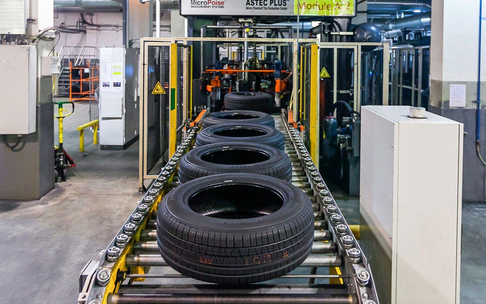 конвеерная линия переработки шин