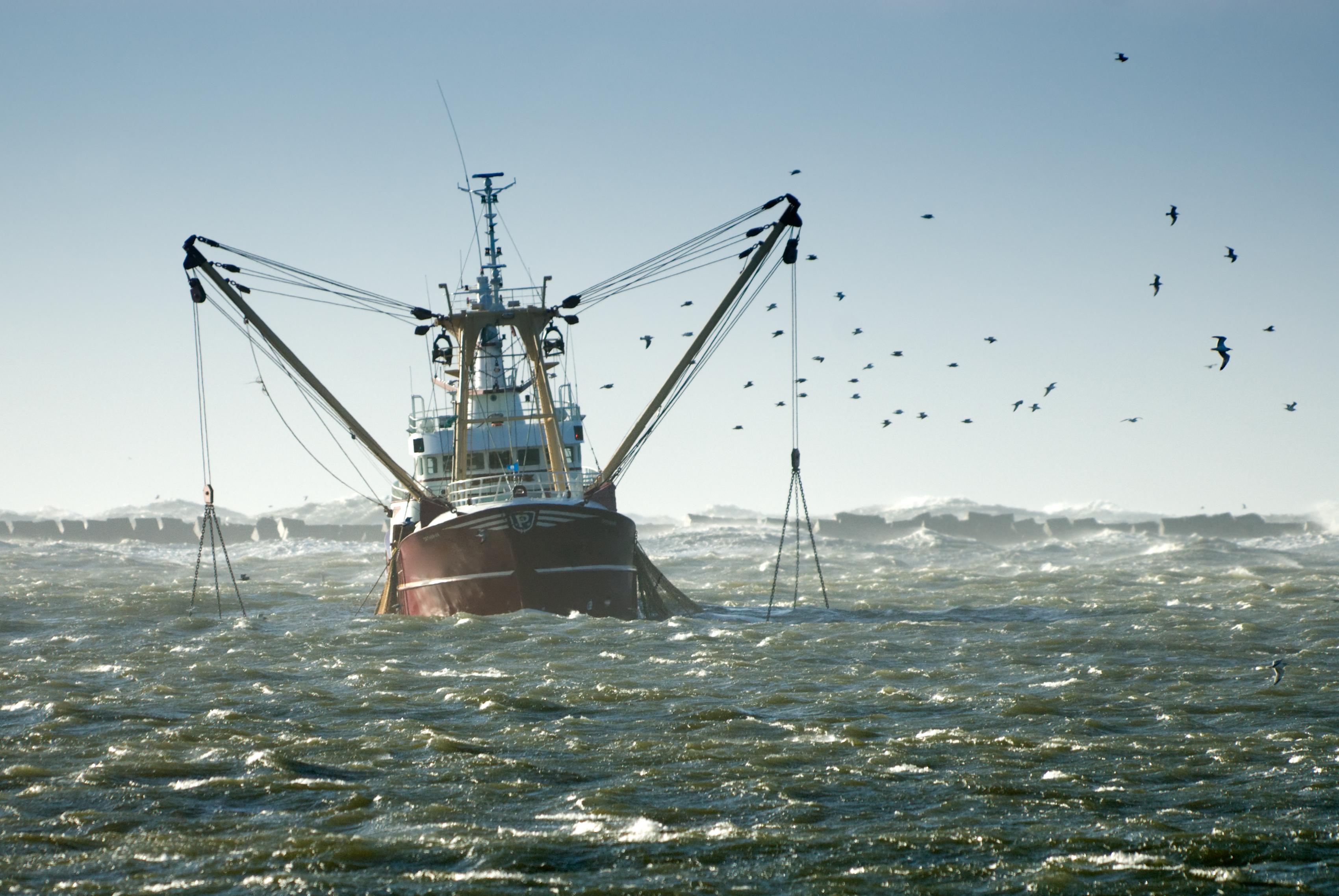 Рыболовный корабль в море