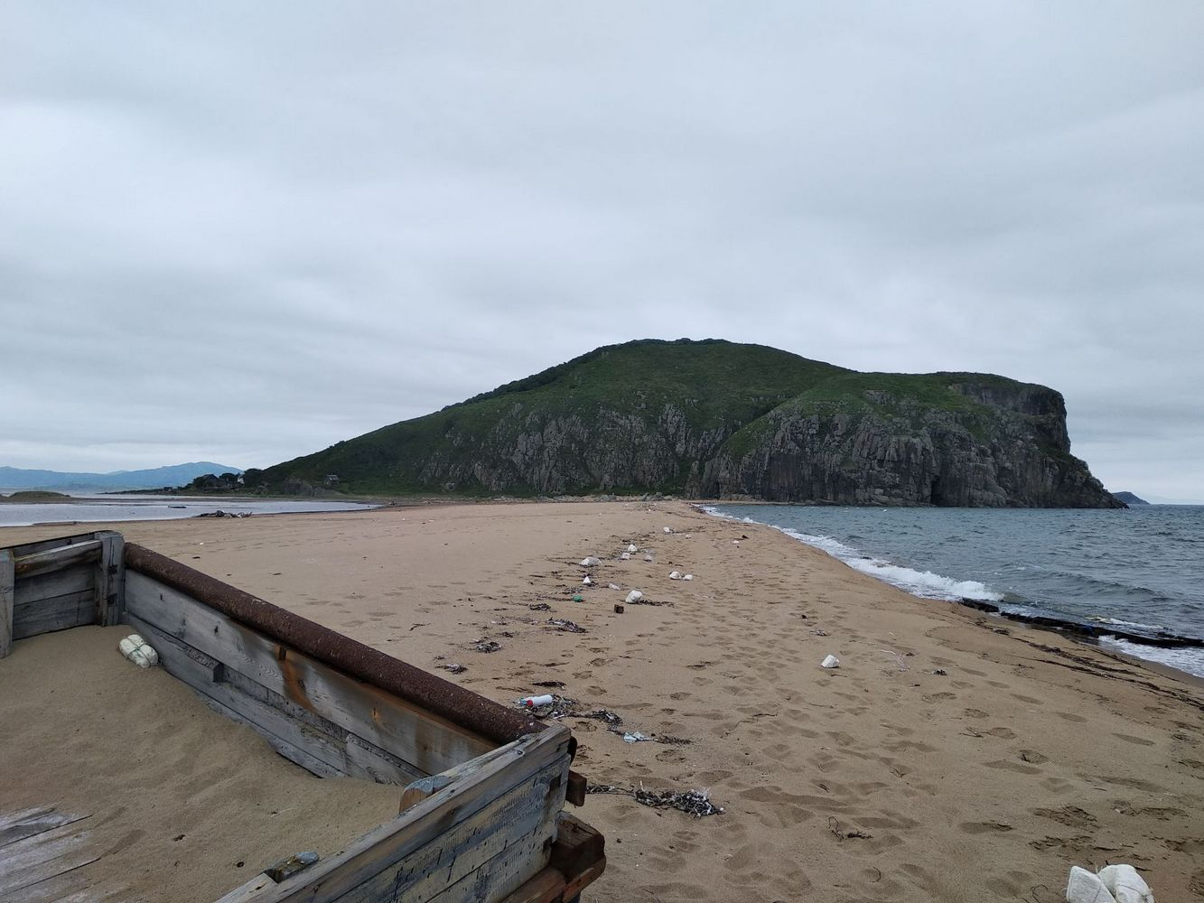загрязненное побережье японского моря